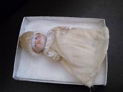 "Porcelain Bisque Baby 6"" Jointed, Original Clothes, Marked Japan"