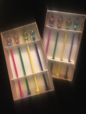 Colorful Glass Colored Ball SWIZZLE STIR STICKS Bombay Company Lot of 8
