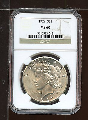 1927 P Peace Coin Silver Dollar NGC Uncirculated Certified MS 60 AA0190