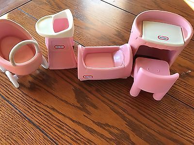 Little Tikes Dollhouse Vintage Nursery Pink Cradle, Buggy, Highchair, Chair +