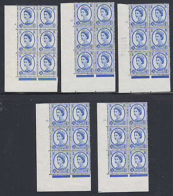 Great Britain SG 576 MNH. 1958 4p Wilding Cylinder Blocks of 6, 13 different