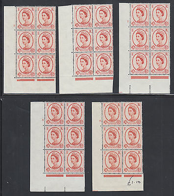 Great Britain SG 577 MNH. 1959 4½p Wilding Cylinder Blocks of 6, 5 different