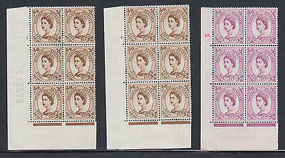 Great Britain SG 578, 579 MNH. 1958 5p, 6p Wilding Cylinder Blocks, 3 different