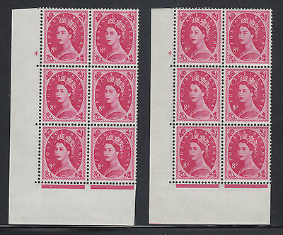 Great Britain SG 581 MNH. 1959 8p Wilding Cylinder Blocks of 6, 2 different