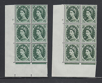 Great Britain SG 582 MNH. 1959 9p Wilding Cylinder Blocks of 6, 2 different