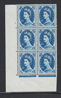 Great Britain SG 583 MNH. 1958 10p Wilding Cylinder Block of 6, number 1