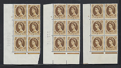Great Britain SG 584 MNH. 1958 1sh Wilding Cylinder Blocks, 3 different