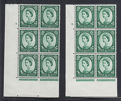 Great Britain SG 585 MNH. 1959 1sh3p Wilding Cylinder Blocks of 6, 2 different