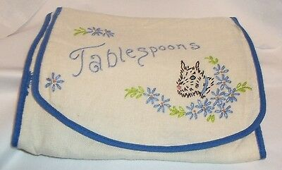 Vintage Embroidered Tablespoons Holder~Scottie Style Dog~Flowers~Slots for Spoon