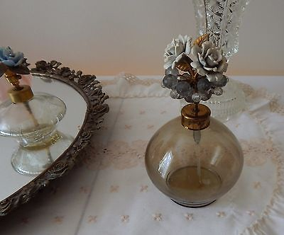 LOVELY Vintage Perfume bottle with LARGE FLOWER HEAD~ ROSES & LEAVES~ IRICE?