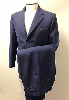 "1955 Dated Vintage Men's Tailored Suit 2 Piece British Blue Black Stripe 40"" Reg"