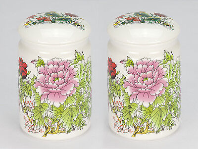 Set of 2 NEW Oriental asian peony porcelain loose tea bag caddie canister jar