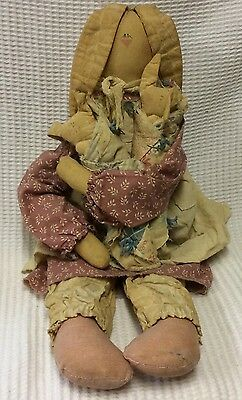 Vintage Attic Babies Mama Rabbit With 2 Babies Doll By Marty Maschino