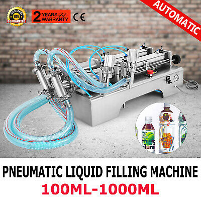 Two Heads Pneumatic Liquid Filling Machine 100-1000ML Piston Filler Control