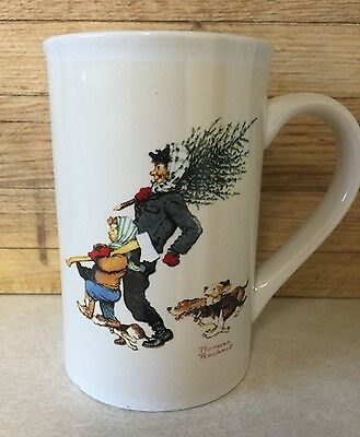 Norman Rockwell : Bringing Home the Tree : Coffee Mug Snow Sledding