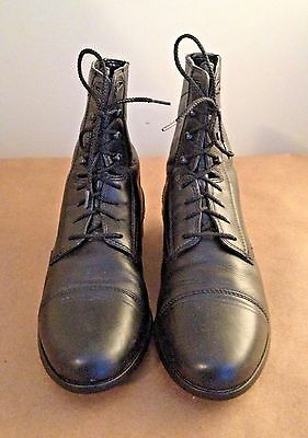 Ariat Black Leather Heritage II Paddock Equestrian Lace-up Boots US 6.5B #57305