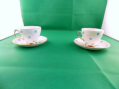 Royal Vale Polka Dot Blue 2 x Cups & Saucers