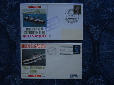 Lot 2 RMS Queen Mary Elizabeth Ship Cunard Line Envelopes Final Voyage hj1299