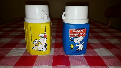 VINTAGE 1958 Snoopy and 1965 Snoopy and Woodstock 8 OZ LUNCHBOX THERMOS