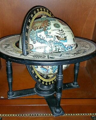 Vintage Zodiac Astrology Horoscope Old World Desk Globe Metal engraved Japan