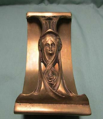 Victorian Art Nouveau Brass Ink Blotter with Maiden Beautiful Face Flowing Hair
