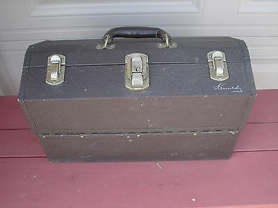 """VINTAGE Kennedy 17"""" Aluminum Tackle Box With Cantilever Trays Leather Handle VGC"""