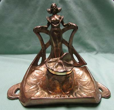 Victorian Art Nouveau Maiden Figural Brass Inkwell with Insert