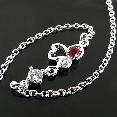 A552 Genuine Real 925 Sterling Silver S/f Girls Diamond Simulated Ruby Anklet