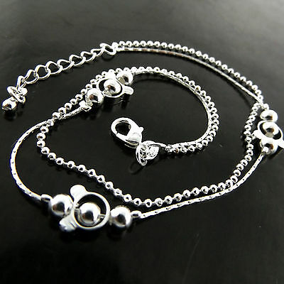 A767 Genuine Real 925 Sterling Silver S/f Ladies Bead Design Xl Bracelet Anklet