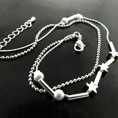 A773 Genuine Real 925 Sterling Silver S/f Ladies Bead Design Xl Bracelet Anklet