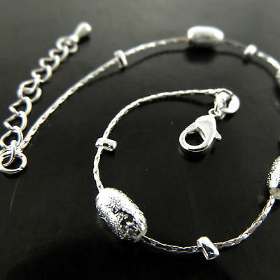 A756 Genuine Real 925 Sterling Silver S/f Ladies Bead Design Xl Bracelet Anklet