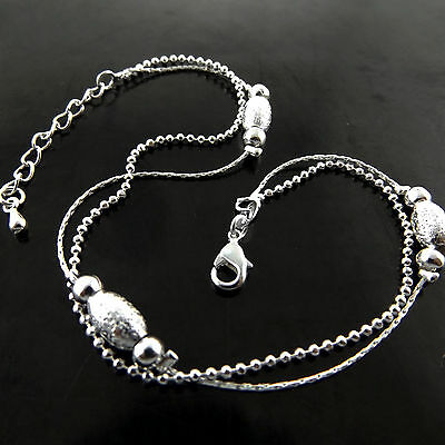 A768 Genuine Real 925 Sterling Silver S/f Ladies Bead Design Xl Bracelet Anklet