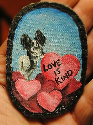 Original Painting~Papillon~Black~Dog~Hand Painted~Valentine~PATCH~Sew~Whimsical