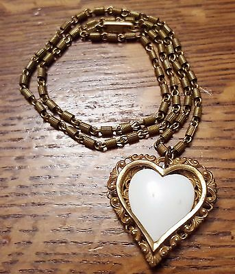 Vintage Miriam Haskell Heart Pendant Necklace