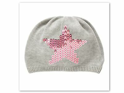 NWT Gymboree FAIRY TALE FOREST Gray with Sequin Pink Star Beanie Hat  M  7-8