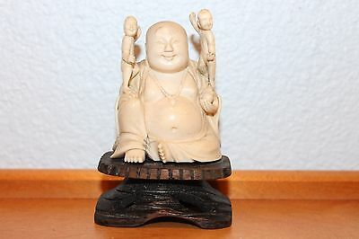 Old Antique Chinese Happy Buddha Carved Statue on Wooden Stand