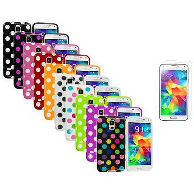 For Samsung Galaxy S5 TPU Rubber Case Cover Polka Dot + Screen Protector
