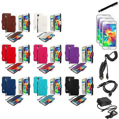 For Samsung Galaxy S5 Leather Wallet Pouch Case Cover + 7X Accessories