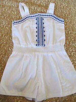 NWT 6 Janie and Jack Paradise Cruise Blue Embroidered Romper One Piece Twin