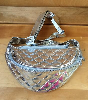 Vintage Silver Quilted Fanny Waist Pack Travel Bag 80's Fashion Fannie Purse