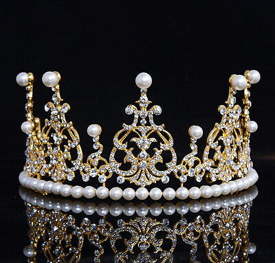 8cm High Large Crystal Pearl Gold Wedding Bridal Party Pageant Prom Tiara Crown
