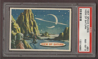 1957 Topps 'space Cards' #83 View Of Saturn, Psa Nm-Mt 8 (Pop 3)