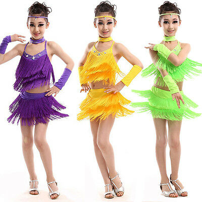 Newly Girls Latin Dancewear Strappy Tassel Tops Skirt Arm Sleeve Dance Outfit