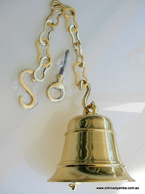 large Front Door school Bell chain POLISHED brass vintage style heavy hang 6.1/2