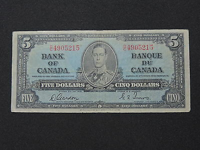 1937 $5 Dollar Bill Bank Note Canada D/c4905215 Gordon - Towers F Condition