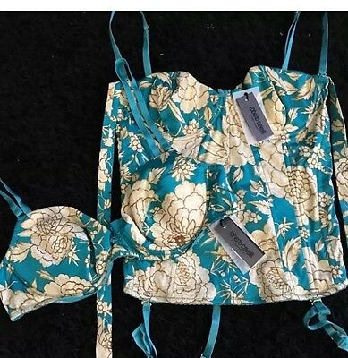 NWT $325 Roberto Cavalli Bustier Corset Top Bra Set Green Floral IT 44 46 US M/L