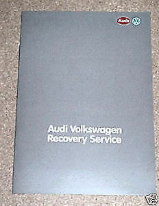 Audi Volkswagen Recovery Service Booklet 1986