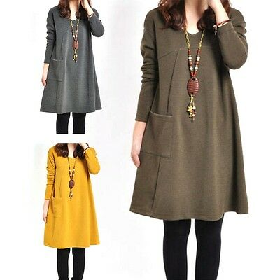 Women Pregnant Maternity Casual Dress Ladies Long Sleeve Loose Tops Blouse M-XL