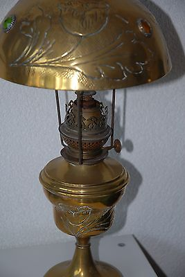 Art Deco Brass Jewelled Oil Lamp Floral Design