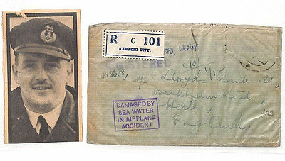 AM130 1937 INDIA AIR CRASH MAIL *Karachi* Registered Cover DAMAGED BY SEA WATER